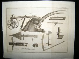 Agriculture 1772 Antique Print. Plough